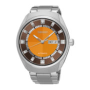 Seiko® Recraft Mens Stainless Steel Orange Automatic Bracelet Watch