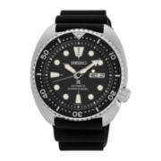 Seiko® Prospex Mens Black Silicone Automatic Diver Bracelet Watch