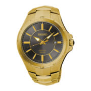 Seiko® Coutura Mens Gold-Tone Stainless Steel Solar Bracelet Watch