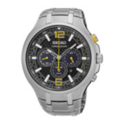 Seiko® Recraft Mens Stainless Steel Chronograph Solar Bracelet Watch