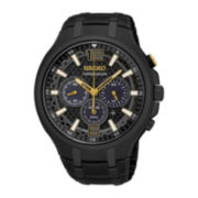 Seiko® Recraft Mens Black Chronograph Solar Bracelet Watch