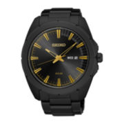 Seiko® Recraft Mens Black Ion Stainless Steel Solar Bracelet Watch