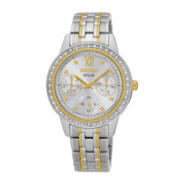 jcpenney.com | Seiko® Recraft Womens Crystal-Accent Two-Tone Solar Bracelet Watch