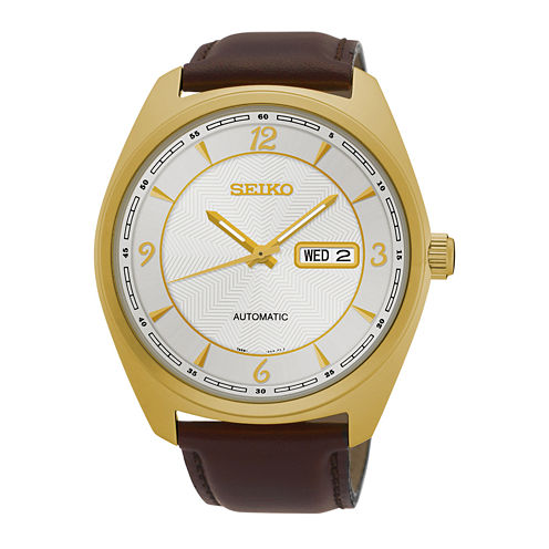 Seiko® Recraft Mens Gold-Tone Champagne Automatic Bracelet Watch