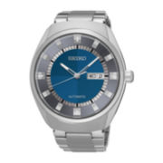 Seiko® Recraft Mens Stainless Steel Blue Automatic Bracelet Watch