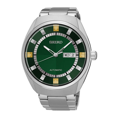 Seiko® Recraft Mens Stainless Steel Green Automatic Bracelet Watch