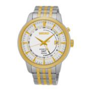 Seiko® Mens Two-Tone Kinetic GMT Bracelet Watch SUN062
