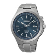 Seiko® Mens Titanium Kinetic Blue Bracelet Watch SKA729