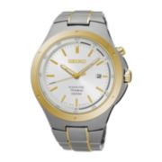 Seiko® Mens Two-Tone Kinetic Bracelet Watch SKA730