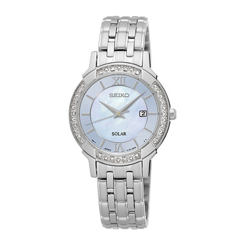Seiko® Womens Crystal-Accent Mother-of-Pearl Solar Bracelet Watch SUT277