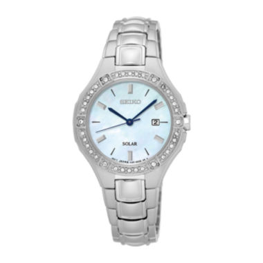 jcpenney.com | Seiko® Womens Crystal-Accent Mother-of-Pearl Solar Bracelet Watch SUT281