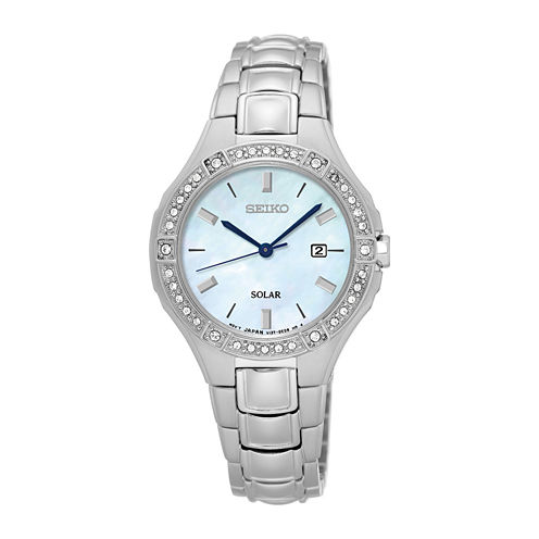 Seiko® Womens Crystal-Accent Mother-of-Pearl Solar Bracelet Watch SUT281