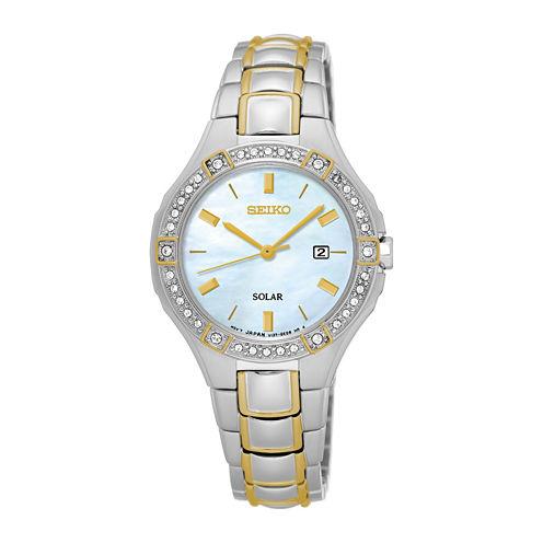 Seiko® Ladies 2 Tone Crystal Accent Bracelet Watch