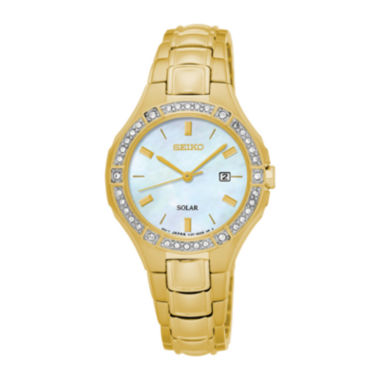 jcpenney.com | Seiko® Womens Crystal-Accent Gold-Tone Mother-of-Pearl Solar Bracelet Watch SUT284