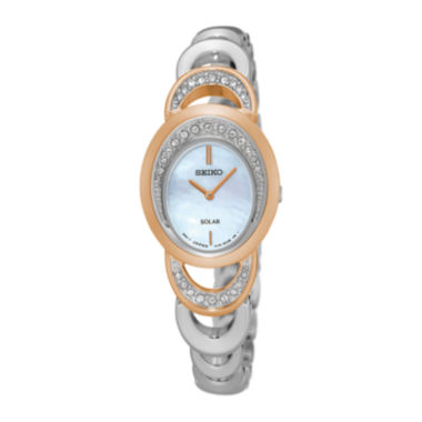 jcpenney.com | Seiko® Womens Crystal-Accent Two-Tone Oval Mother-of-Pearl Solar Bracelet Watch SUP306