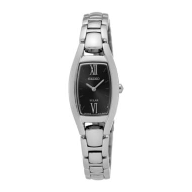 jcpenney.com | Seiko® Womens Stainless Steel Rectangular Black Solar Bracelet Watch SUP317