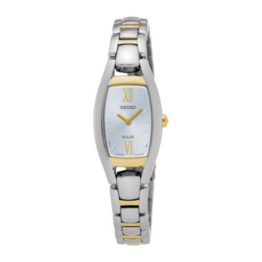 jcpenney.com | Seiko® Womens Two-Tone Rectangular Solar Bracelet Watch SUP318