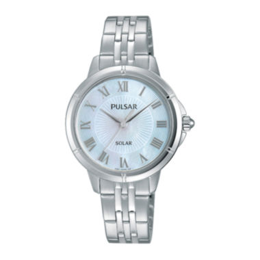 jcpenney.com | Pulsar® Womens Mother-of-Pearl Solar Bracelet Watch