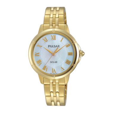 jcpenney.com | Pulsar® Womens Gold-Tone Mother-of-Pearl Solar Bracelet Watch