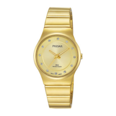 jcpenney.com | Pulsar® Womens Crystal-Accent Gold-Tone Bracelet Watch