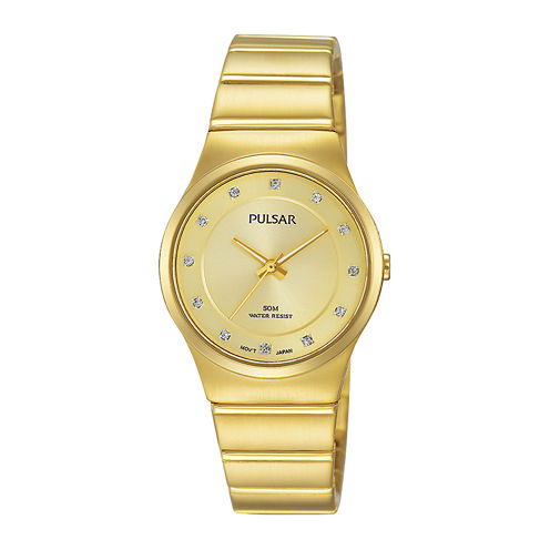 Pulsar® Womens Crystal-Accent Gold-Tone Bracelet Watch