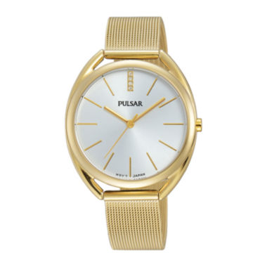 jcpenney.com | Pulsar® Womens Crystal-Accent Gold-Tone Mesh Bracelet Watch