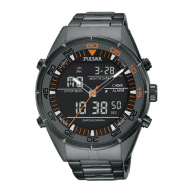 jcpenney.com | Pulsar® Mens Gray Ion-Finished Analog/Digital Chronograph Watch