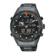 Pulsar® Mens Gray Ion-Finished Analog/Digital Chronograph Watch