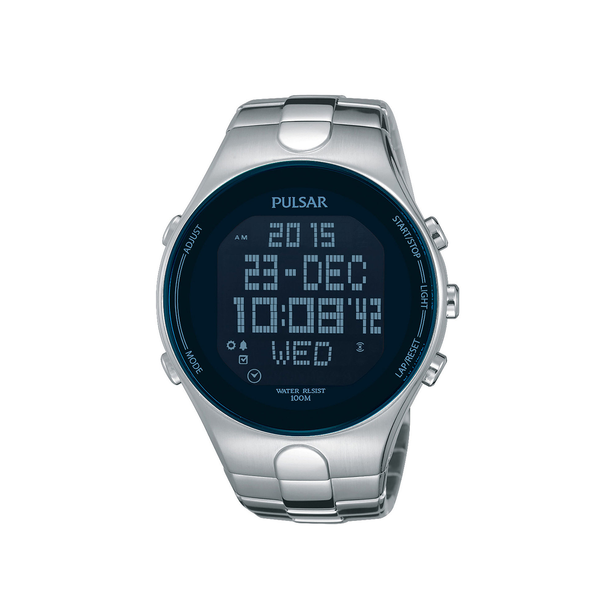 Pulsar Mens Stainless Steel Blue Chronograph Digital Watch