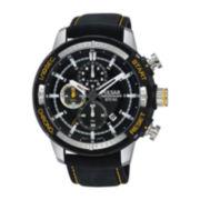 Pulsar® Mens Black Leather Strap Chronograph Watch