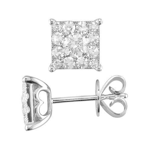 1/2 CT. T.W. Diamond 14K White Gold Stud Earrings