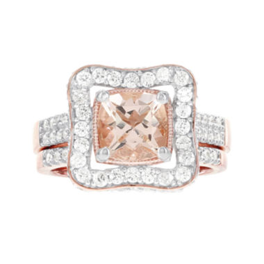 jcpenney.com | Blooming Bridal Genuine Cushion-Cut Morganite and Diamond 14K Rose Gold Bridal Ring Set