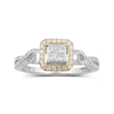 jcpenney.com | 1/2 CT. T.W. Diamond 10K Two-Tone Gold Multi Top Bridal Ring