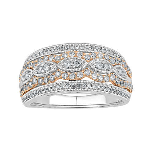 3/4 CT. T.W. Diamond Two-Tone 10K Gold Milgrain Ring