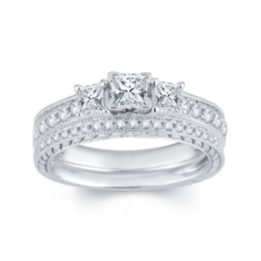 jcpenney.com | 1 CT. T.W. Diamond 14K White Gold 3-Stone Bridal Ring Set
