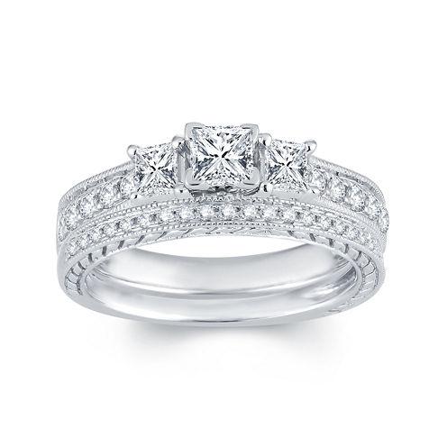 1 CT. T.W. Diamond 14K White Gold 3-Stone Bridal Ring Set