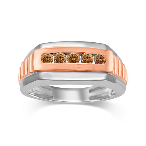 Mens 1/2 CT. T.W. Color-Enhanced Champagne Diamond 10K Two-Tone Gold Ring