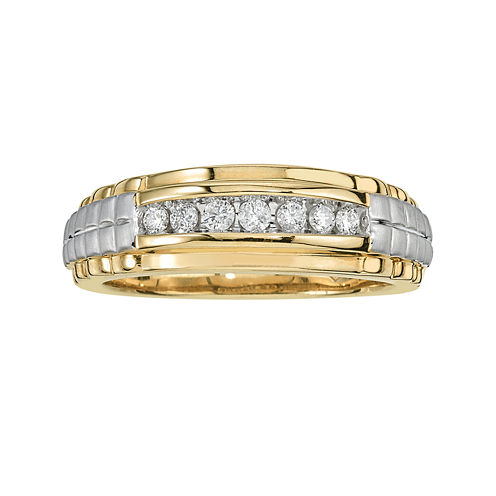 Mens 1/4 CT. T.W. Diamond 10K Yellow Gold Rolex Side Ring