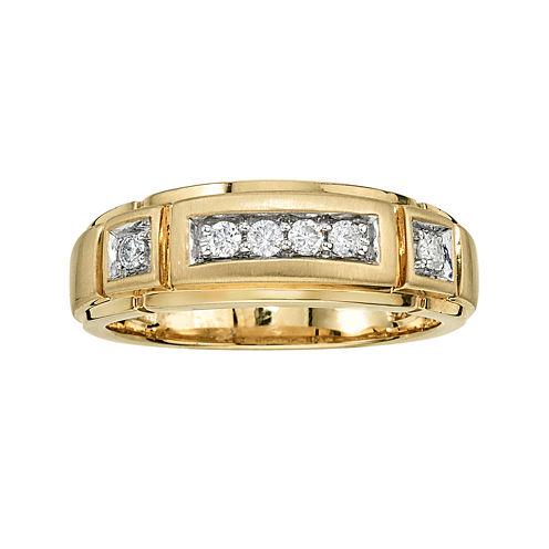 Mens 1/4 CT. T.W. Diamond 10K Yellow Gold Ring