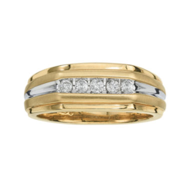 jcpenney.com | Mens 1/4 CT. T.W. Diamond 10K Yellow Gold 5-Stone Ring