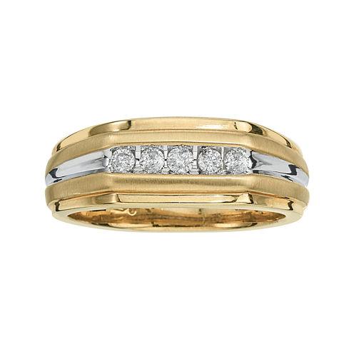 Mens 1/4 CT. T.W. Diamond 10K Yellow Gold 5-Stone Ring