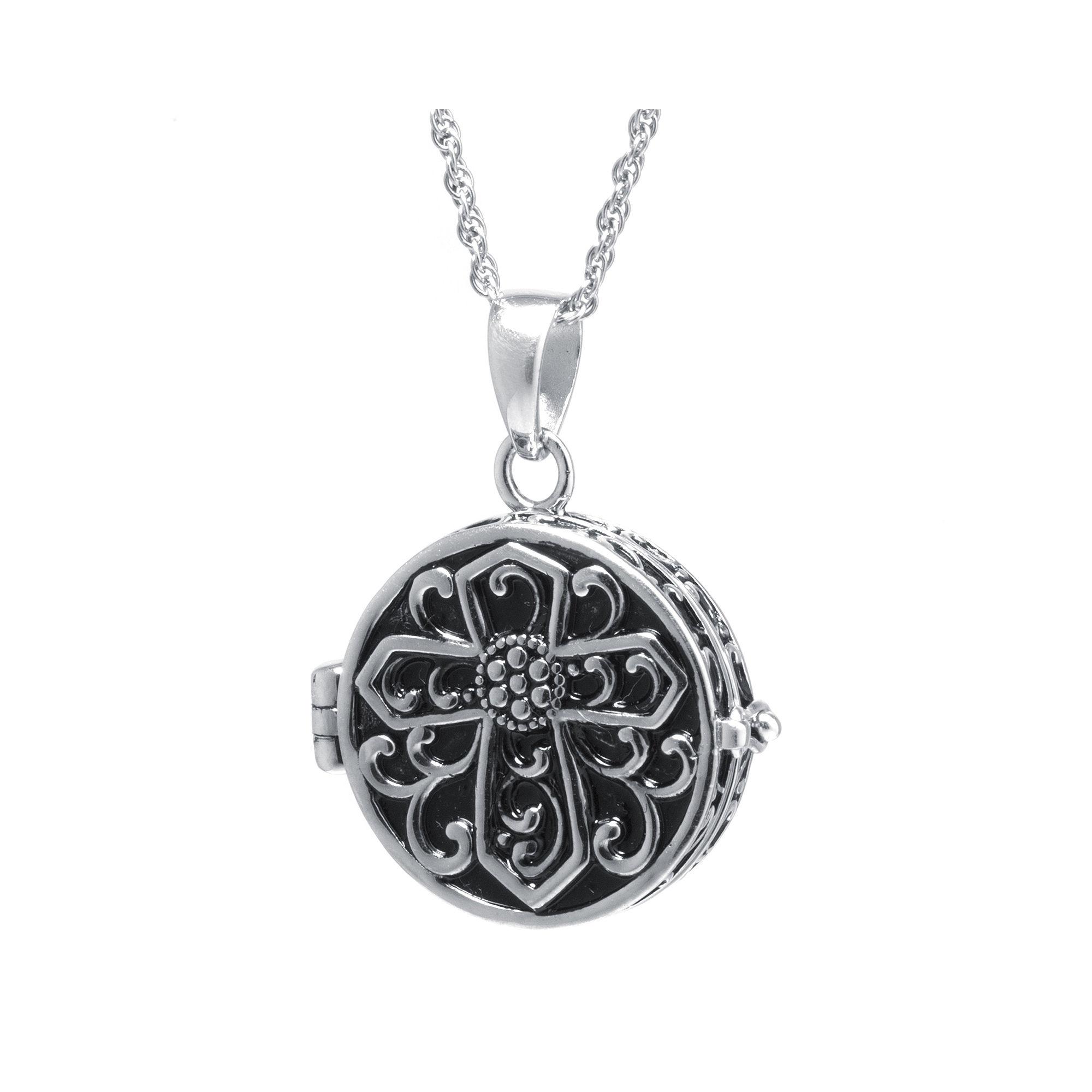 Sterling Silver Vintage-Inspired Cross Prayer Box Pendant Necklace