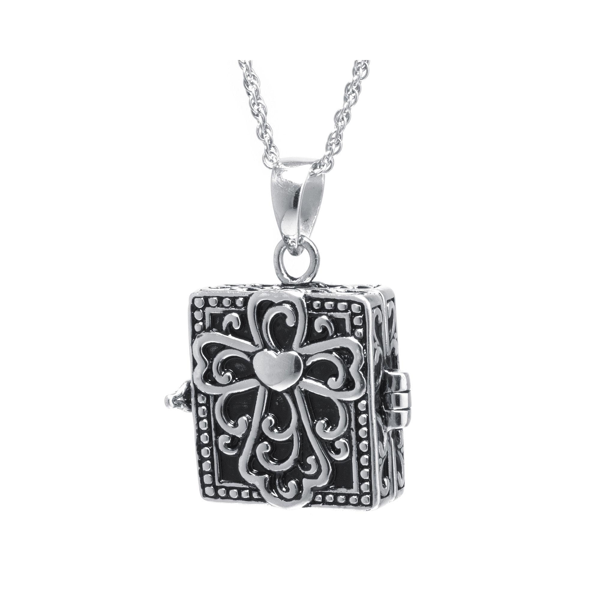 Sterling Silver Vintage Square Cross Prayer Box Pendant Necklace