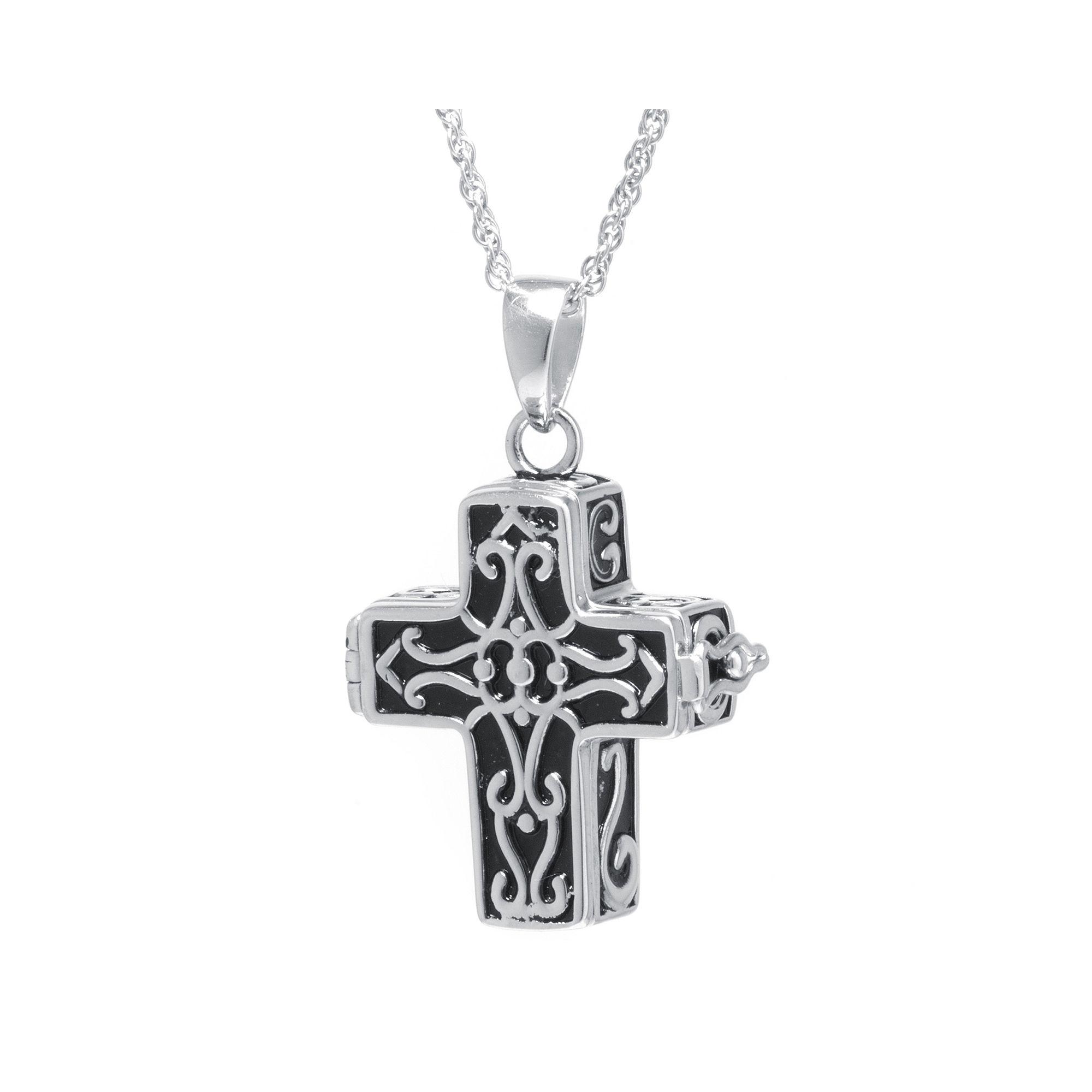 Sterling Silver Vintage Cross Prayer Pendant Necklace
