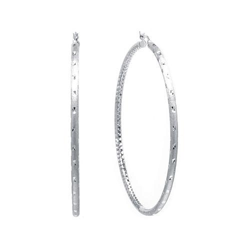 Sterling Silver Diamond-Cut Hinged Hoop Earrings