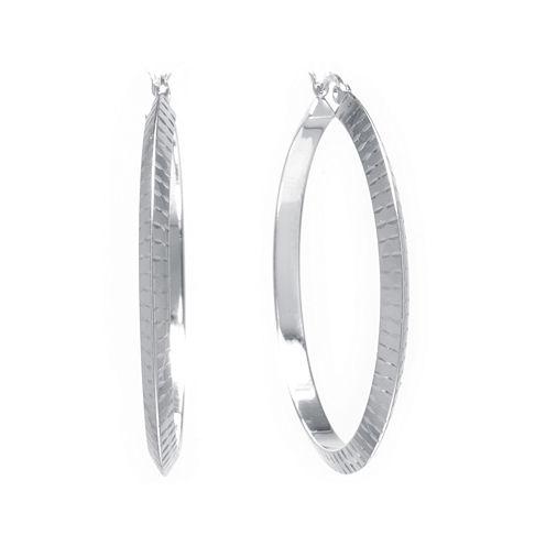 Sterling Silver Diamond-Cut 42mm Hoop Earrings