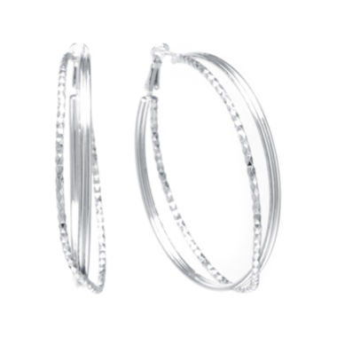 jcpenney.com | Sterling Silver Textured X 47mm Hoop Earrings
