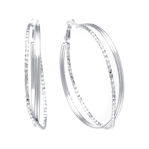 Sterling Silver Textured X 47mm Hoop Earrings