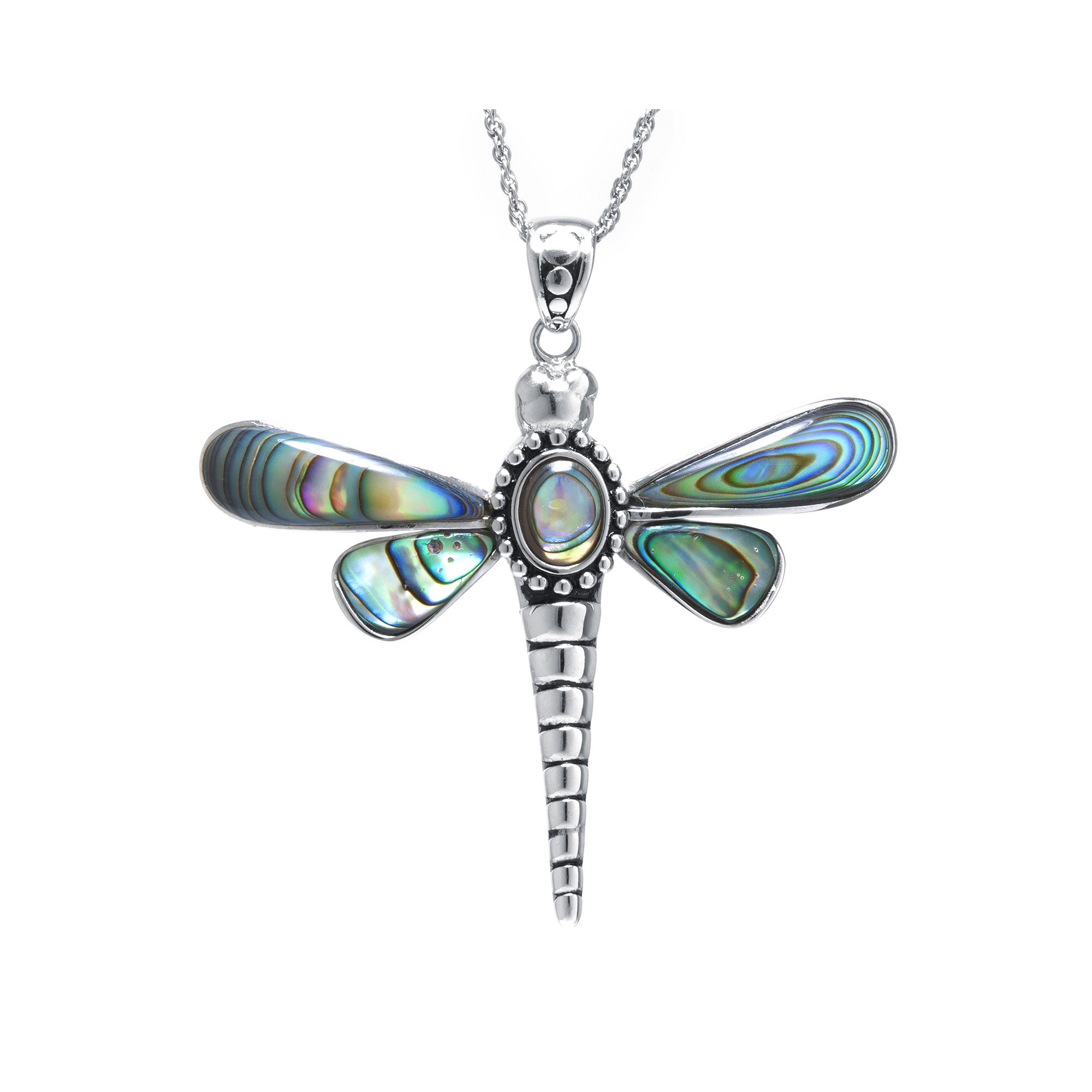 Genuine Abalone Sterling Silver Dragonfly Pendant Necklace