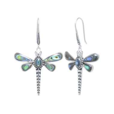jcpenney.com | Genuine Abalone Sterling Silver Dragonfly Drop Earrings